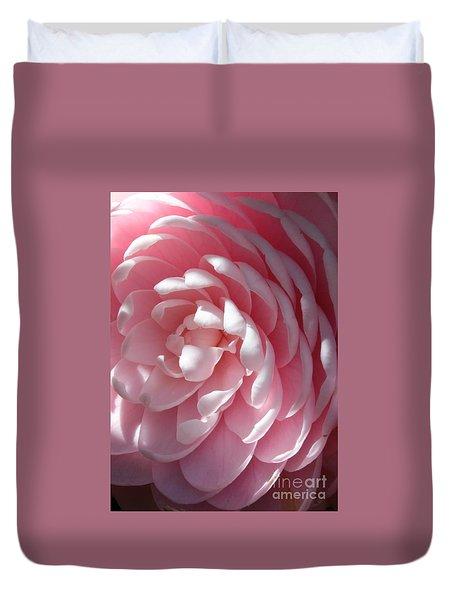Pink Camellia Closeup Duvet Cover by Carol Groenen