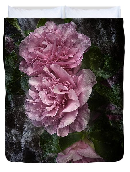 Pink Camellias Duvet Cover by Jane McIlroy