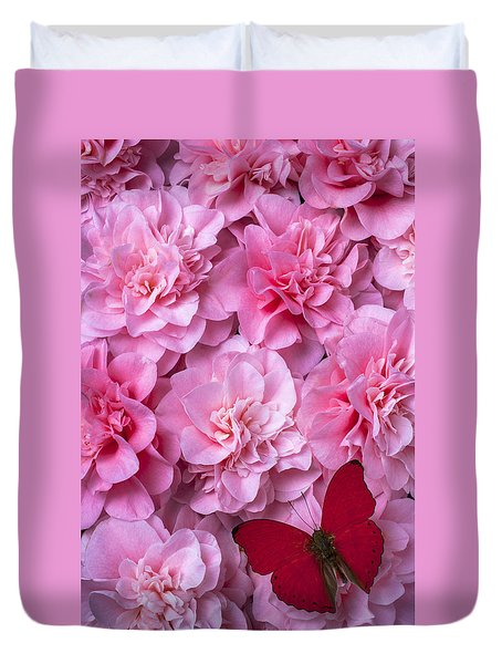 Pink Camilla's And Red Butterfly Duvet Cover by Garry Gay
