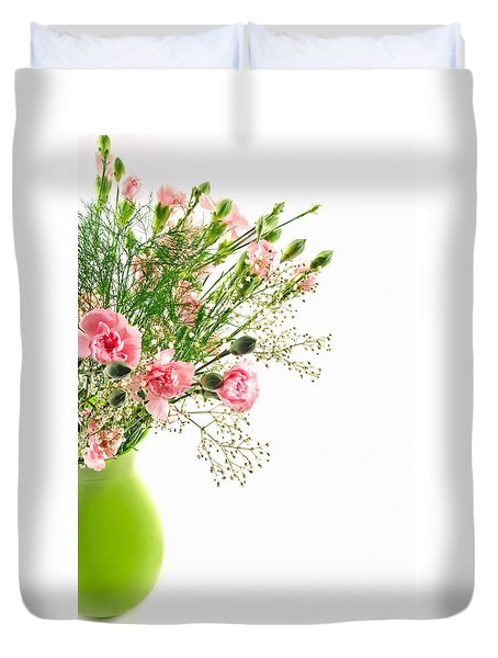Pink Carnation Flowers Duvet Cover