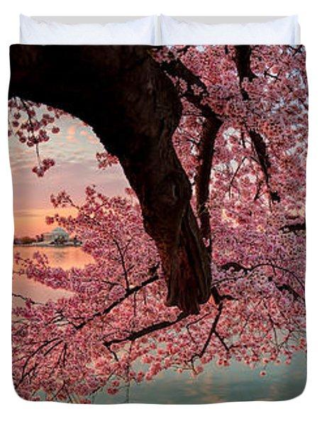 Pink Cherry Blossom Sunrise Duvet Cover