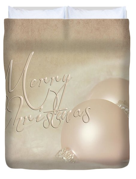 Pink Christmas Ornaments Duvet Cover