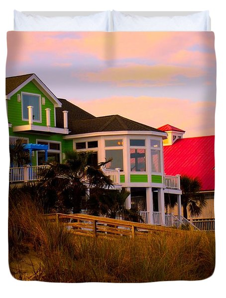 Pink Clouds At Isle Of Palms Duvet Cover by Kendall Kessler