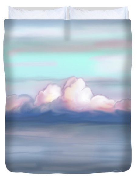 Duvet Cover featuring the painting Pink Clouds by Jean Pacheco Ravinski