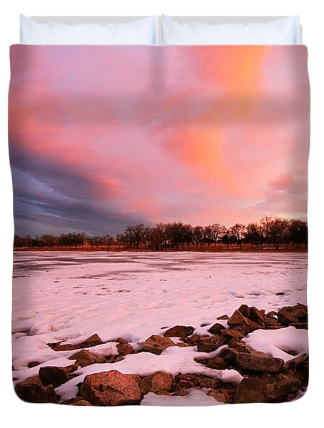 Pink Clouds Over Memorial Park Duvet Cover