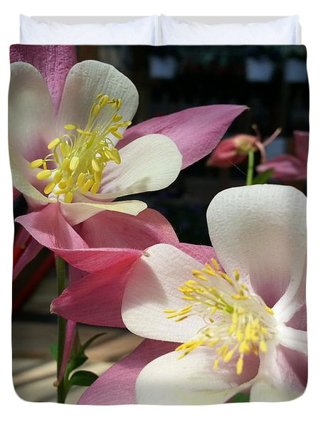Duvet Cover featuring the photograph Pink Columbine by Caryl J Bohn
