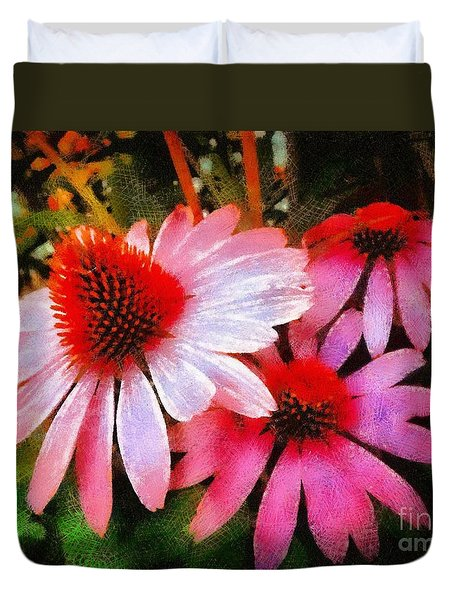 Duvet Cover featuring the photograph Pink Coneflowers - Think Pink  by Janine Riley