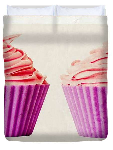 Pink Cupcakes Duvet Cover by Edward Fielding
