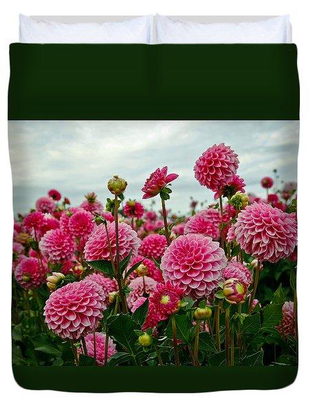 Pink Dahlia Field Duvet Cover