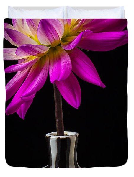 Pink Dahlia In Striped Vase Duvet Cover