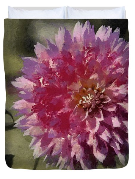 Duvet Cover featuring the painting Pink Dahlia by Jeff Kolker