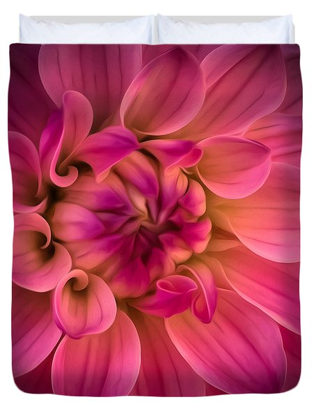 Pink Dahlia Duvet Cover by Linda Villers
