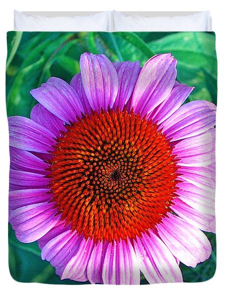 Pink Daisy By Jan Marvin Duvet Cover