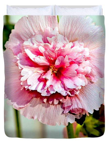 Pink Double Hollyhock Duvet Cover by Robert Bales