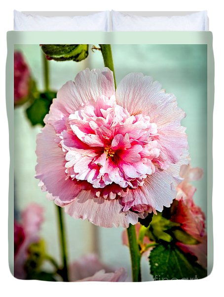 Pink Double Hollyhock Duvet Cover