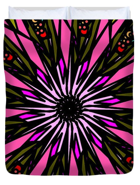 Duvet Cover featuring the digital art Pink Explosion by Elizabeth McTaggart