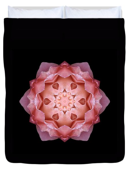 Pink Fall Rose Flower Mandala Duvet Cover