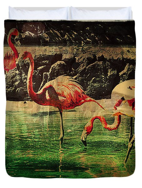 Pink Flamingos - Shangri-la Duvet Cover by Absinthe Art By Michelle LeAnn Scott