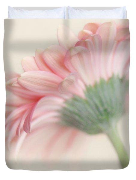 Pink Flower Photography - Pink Nursery Wall Art - Baby Girl Nursery Art - Pale Pink Mint Green Decor Duvet Cover by Amy Tyler