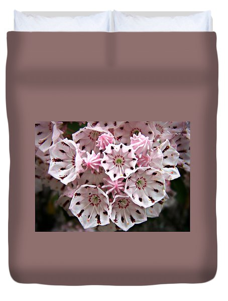 Pink Flowered Mountain Laurel Duvet Cover