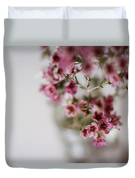Pink Flowers Duvet Cover by Inspired Arts