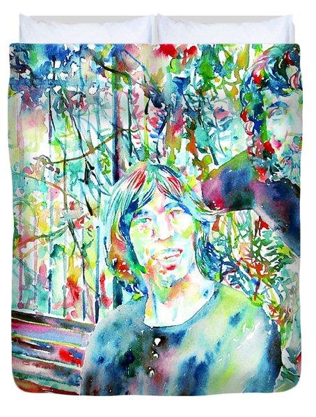 Pink Floyd At The Park Watercolor Portrait Duvet Cover