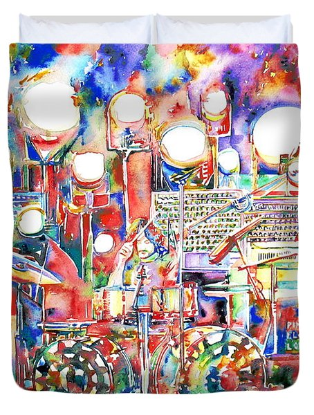 Pink Floyd Live Concert Watercolor Painting.1 Duvet Cover