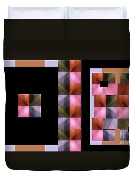 Duvet Cover featuring the digital art Pink Glow by Ann Calvo