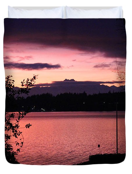 Pink Grapefruit Colored Sunset Duvet Cover by Kym Backland
