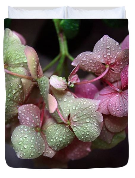 Pink Green And Rain Duvet Cover