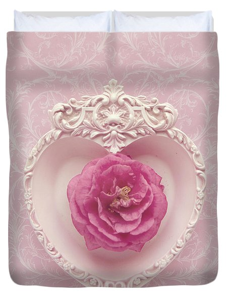 Duvet Cover featuring the photograph Pink Heart - Pink Camellia by Cindy Garber Iverson