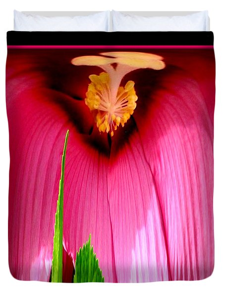Pink Hibiscus Abstract Duvet Cover by Rose Santuci-Sofranko