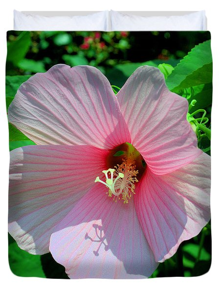 Pink Hibiscus Duvet Cover by Luther Fine Art