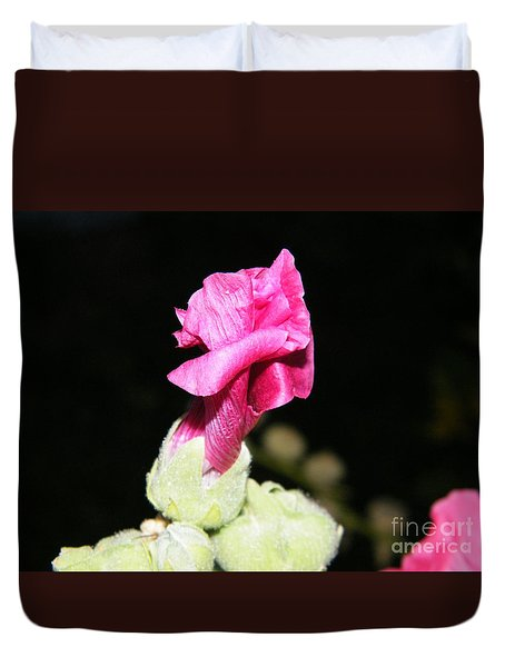 Duvet Cover featuring the photograph Pink Hollyhock  by Ann E Robson