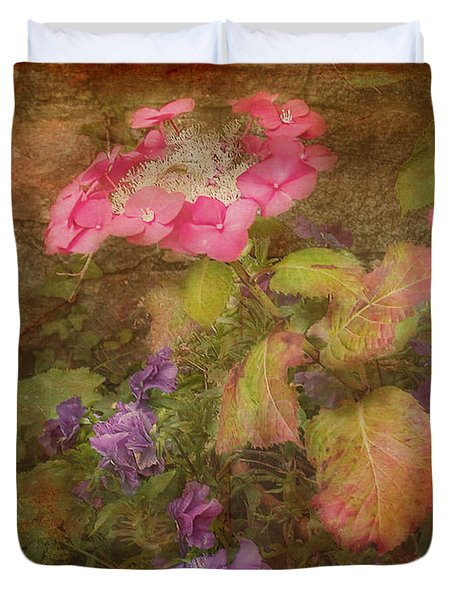 Pink Hydrangea And Purple Pansies Duvet Cover
