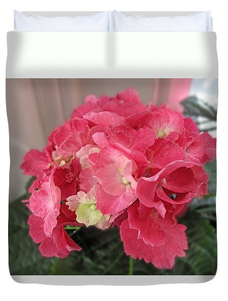 Pink Hydrangea Duvet Cover by Barbara McDevitt