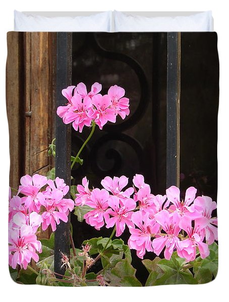 Duvet Cover featuring the photograph Pink In My Window by Lew Davis