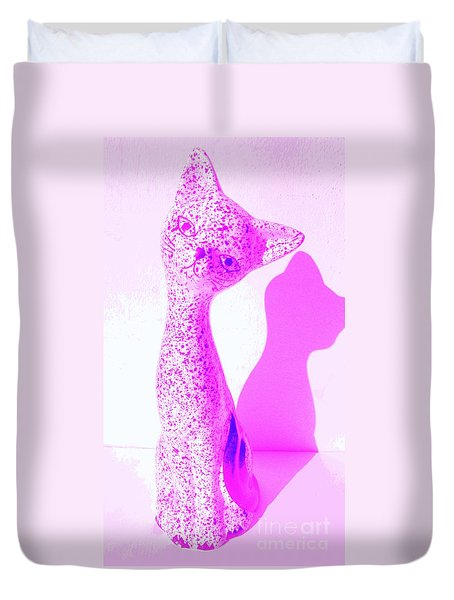 Duvet Cover featuring the photograph Pink Kitty Cat by Peter Gumaer Ogden