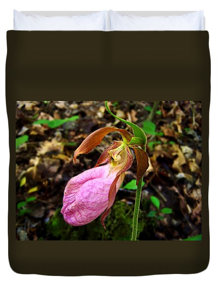 Pink Ladyslipper Orchid Duvet Cover