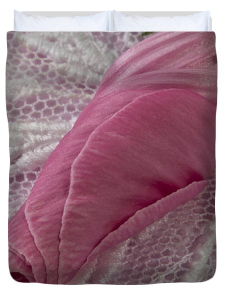 Pink Lavatera Bud Macro Duvet Cover by Sandra Foster