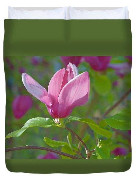 Pink Magnolia Blossom Duvet Cover