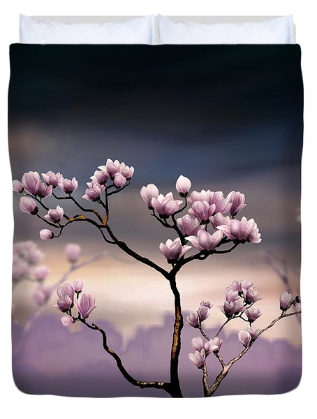 Pink Magnolia - Dark Version Duvet Cover