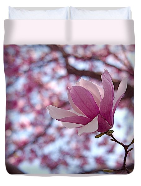 Pink Magnolia Duvet Cover by Rona Black