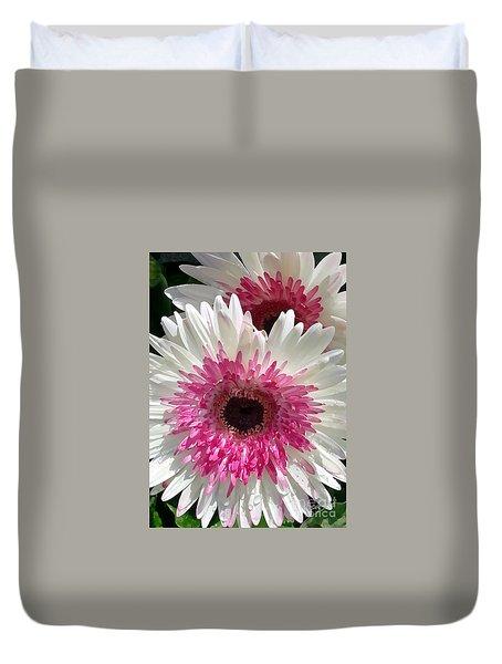 Pink N White Gerber Daisy Duvet Cover