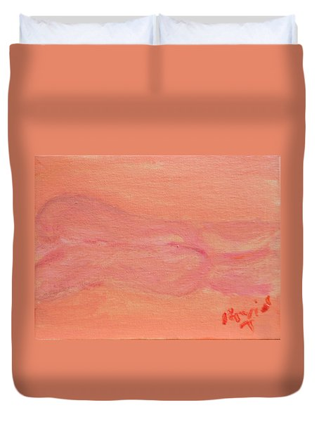 Pink Nude On Orange Duvet Cover by David Trotter