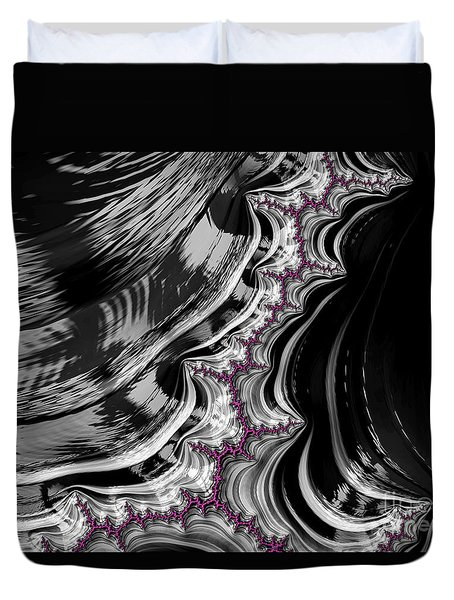 Pink On Black And White Fractal Abstract Duvet Cover