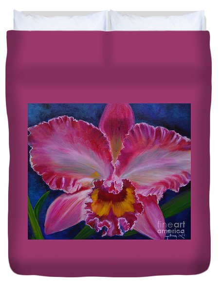 Duvet Cover featuring the painting Pink Orchid by Jenny Lee