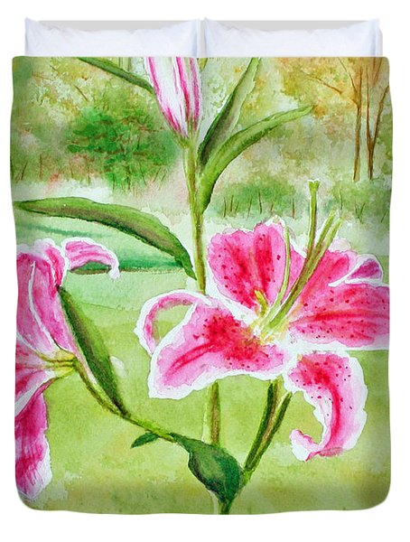 Pink Oriental Lillies Duvet Cover by Kathryn Duncan