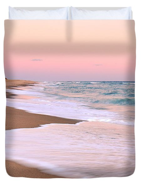 Pink Pastel Beach And Sky Duvet Cover