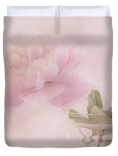 Pink Peony Blossom In Clear Glass Tea Pot Duvet Cover by Sandra Foster